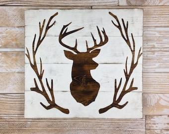 Deer Head Antler Wreath Wood Plank Sign, Home Decor, Rustic Art, Wood Sign