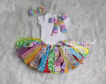 Rainbow tutu. 3 piece set tutu outfit. Cake smash tutu. 1st Birthday tutu outfit. Fabric tutu outfit.