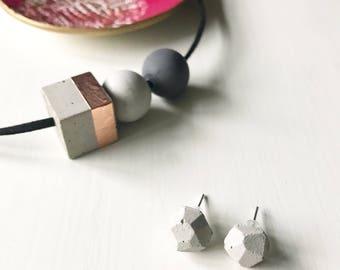 Concrete Geometric Stud earrings / geometric concrete studs, gift for her, industrial style, minimalist jewellery