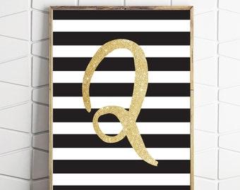 Q alphabet letter print, nursery art decor, glitter letter art, black and white art, black and gold art, printable download