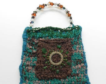 Hand Knit Turquoise Green and Brown Sari Silk Bag- Turquoise Jewel