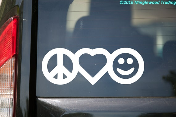 Peace love happiness vinyl decal sticker 7 x 2 5 peace sign heart smiley face free shipping