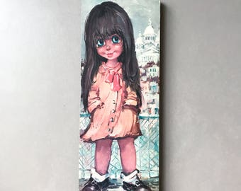 Vintage Big Eyed Print, Girl in Paris By Michel T 60's Wall Art, Big Eyes Children In Paris