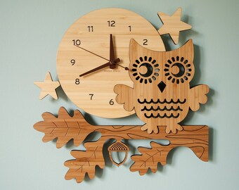 Wood Night Owl Wall Clock: Woodland Forest Wood Animal Nursery Bamboo Decor for Baby, Boy, Girl, Kids, Children