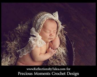 Vintage Style Bonnet,  Cream Newborn Photo Prop, Bonnet with Lace, Crochet Bonnet, Newborn Bonnet, Crochet Baby Bonnet, Newborn Girl Bonnet