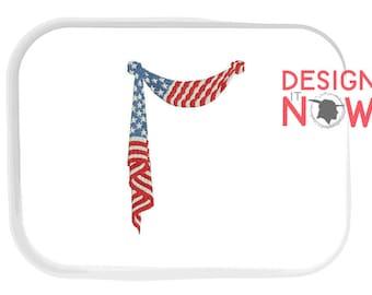 United States USA Flag Machine Embroidery Design - One Size