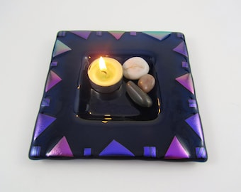 Midnight Blue Fused Glass Bowl - Purple Glass Candle Dish - Blue Glass Bowl with Purple and Pink Dichroic Glass - Square Serving Bowl