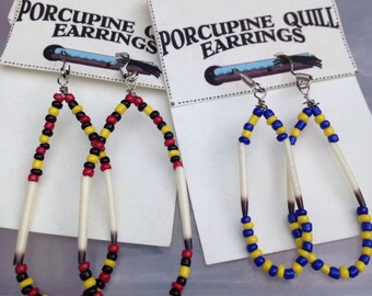12 Porcupine Quill Earrings - wholesale one dozen lot