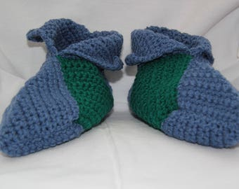 booties in blue and green crochet wool size 45-46