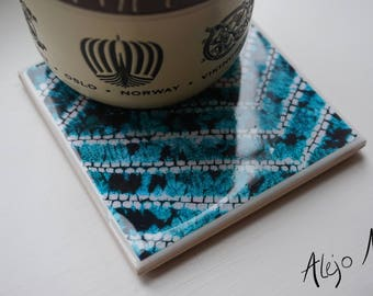 Tile Coasters // Set of 2 // African Print // Ceramic Tiles // Unique Gift // Housewarming // Gift for Her
