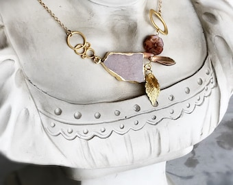 gemstone necklace peach moonstone necklace rustic jewelry flower necklace gold necklace geometric necklace bohemian necklace TUSCAN ROSE