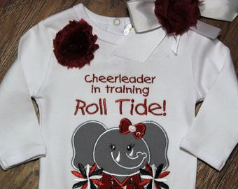Alabama, Roll Tide, crimson tide, baby shower gift, new baby gift, baby girl gift, baby girl clothes, bodysuit, elephant, cheerleader, Bama