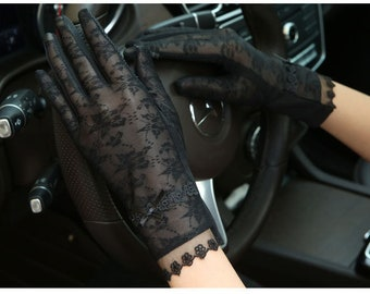 Lace Sunscreen Gloves, UV gloves, Lace gloves,  Black lace gloves, Party Gloves, Wedding Gloves