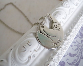 Sloth Necklace with Initial Leaf Charm, Sloth Fun Necklace