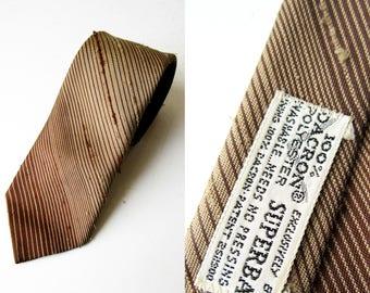 Vintage Brown Striped Dacron SUPERBA Polyester Tie 54 Length