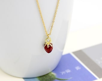 Strawberry Necklace - Tiny Strawberry Necklace - Tiny Gold Strawberry Necklace - Strawberry Jewelry - Enamel Strawberry Necklace