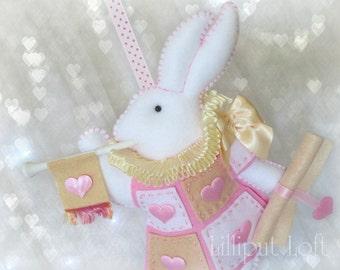 Nursery Mobile - Wonderland White Rabbit in court - pink and cream