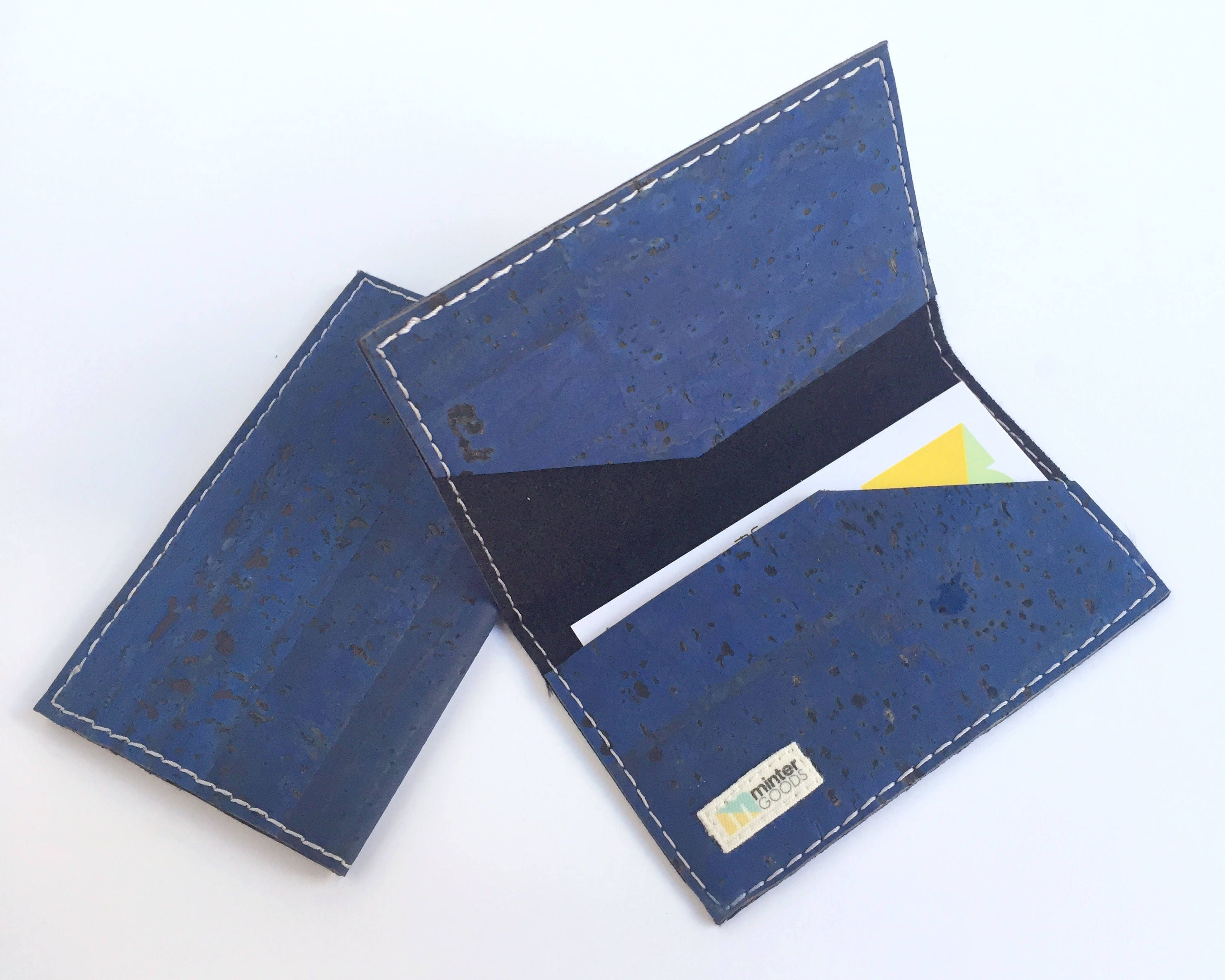 Vegan business card case indigo cork fabric. Business card