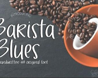 Digital Font Download- Handwritten Font-Barista Blues- Open Type Font otf- Commercial Use- Instant Download