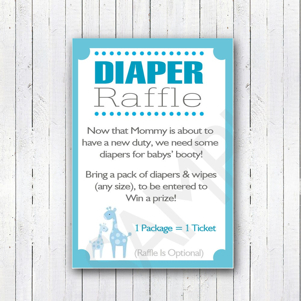 Printable DIY Blue Safari Baby Shower Diaper Raffle Invitation