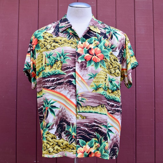 Vintage Hawaiian Aloha Shirt by Surfside Sports, Long Sleeve Shirt, Hawaiian Shirt, Hawaiian Attire created in Hawaii