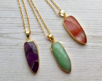 Faceted Crystal Pendant Necklace, Boho Gemstone Necklace M14