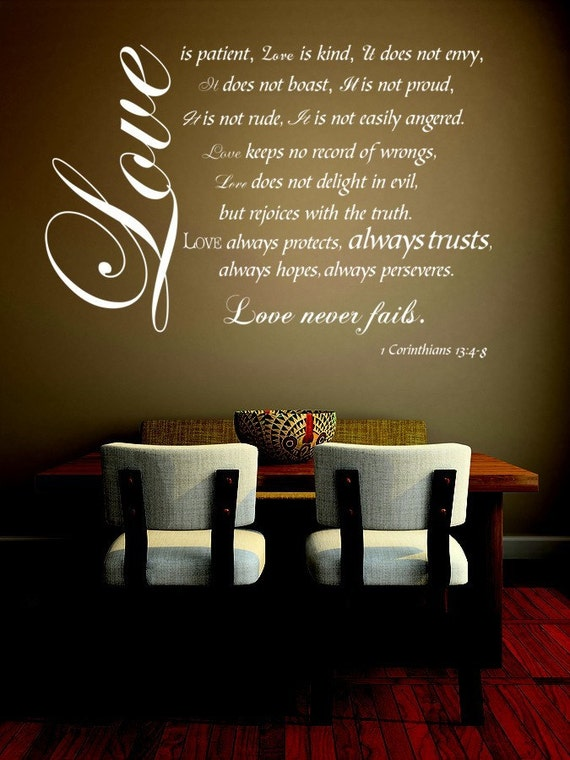 Love is Patient Love is Kind wall decal, 1 Corinthians, Bible Verse Wall Decals, Small, 1 Corinthians 13, religious wall decals