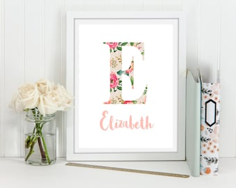 "Personalized name print, Floral monogram, 8x10"" Nursery letter printable, girl room decor, monogram printable, watercolor floral monogram"