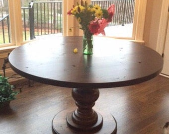 Hand Crafted Round Pedestal Dining Table. Fully Customizable