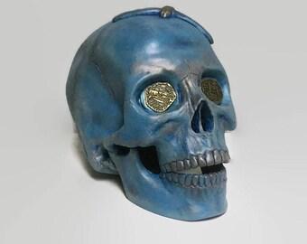 Blue and Copprt Ceramic Pirate Skull, Human Skull Replica, Mixed Media Skull
