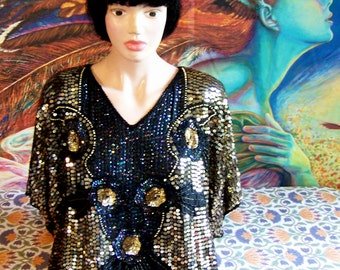 NWT, Beaded blouse, Sequin Blouse, Deadstock, SILK, Holiday, Black + Gold, size M