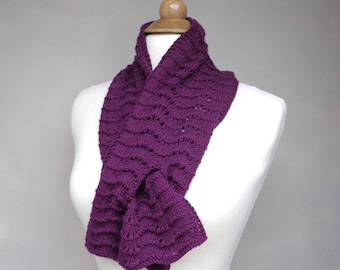Pull Through Keyhole Scarf, Berry Purple, Merino & Cashmere, Hand Knit Neck Scarf Scarflette, Super Soft