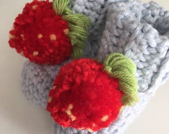 Baby Booties with Strawberries