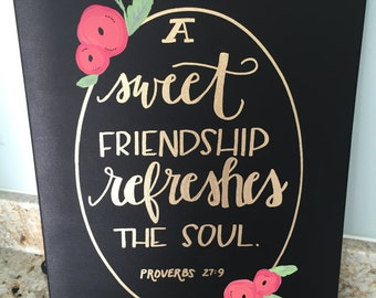 Proverbs 27:9 Canvas--Handlettered, hand-painted