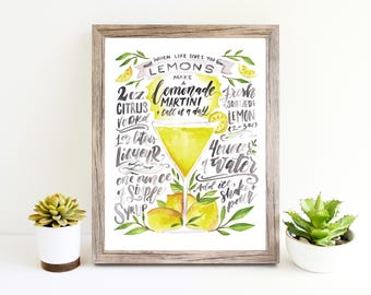 Lemon Martini When Life Gives You Lemons 8x10 frameable art / Humor Quote / recipe art / cocktail art