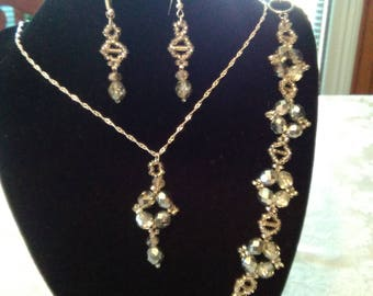 Unique One of a Kind Handmade Beadwoven Silver and Crystal Necklace, Bracelet and Earrings Set