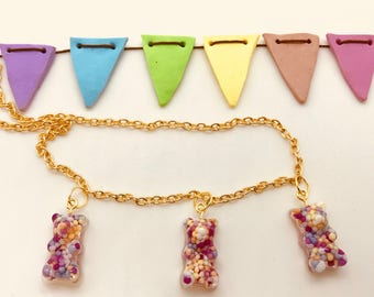 Gummy Bear filled with Sprinkles (Actual Size) Charm Necklace