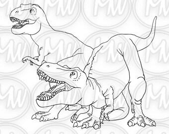 Dinosaur,T-rex, Printable Coloring Page, Digital Stamp, illustration Coloring Book, Instant download, Line Art, Crafts, Cards, Dinosaur #054