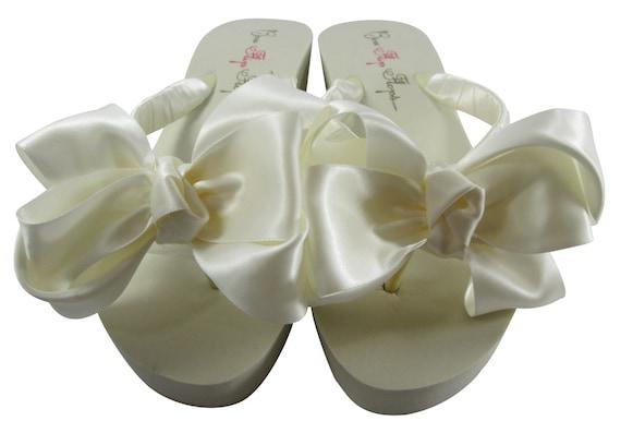 double Wedding Platform Flops Bridal satin bridesmaid Flip white Bridal or Wedge Heel Bride bride Plain Flat Ivory bow bow 6qq0x5zw