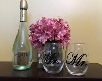 Mr. & Mr. Stemless Wine Glasses