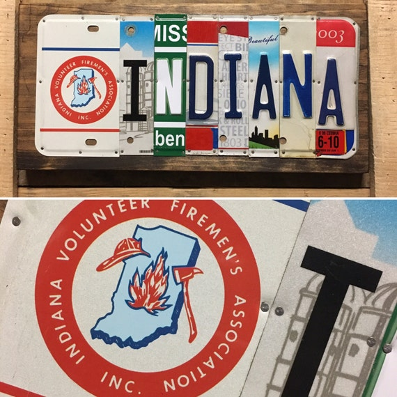 Indiana License Plate Sign - License Plate Wall Art -FREE shipping in US ! (Rustic Apple Art seen in Country Living Mag)