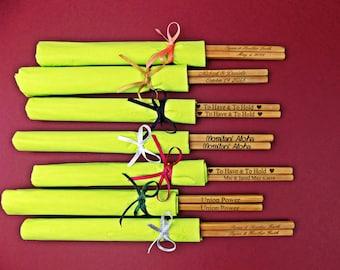 Personalized Chopsticks with Paper Napkins, Chopsticks, Bamboo Chopstick, Wedding, Rustic Chopstick, Wedding Chopsticks, Min. Order 3 pair
