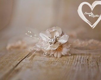 Enchanting 2 flower Creamy Newborn Headtie Earthy Neutrals 1st Baby photo shoots newborn baby fits all delicate SHIPS FREE*