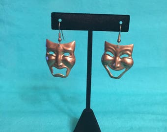 Vintage tragedy and comedy mask earrings