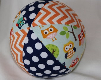 Blue Lazy Owls Boutique Ball Rattle Toy
