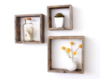 Floating Shelves (Set of 3)   Wall Shelf   Wall Shelves   Box Shelves   Reclaimed Wood Shelves   Wooden Shelves  Rustic Wall Decor