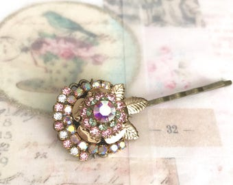 sparkly pink rose antique brass bobby pin with Swarovski crystals #1016-14