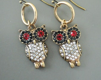 Vintage Jewelry - Vintage Earrings  - Owl Earrings - Red Earrings - Chloes Vintage Jewelry - Crystal Rhinestone Earrings - Handmade Jewelry