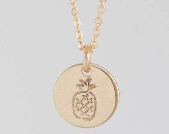 Gold Pineapple Necklace / Small Pineapple Pendant Necklace / Pineapple Disc Necklace / Gold, Silver, or Rose
