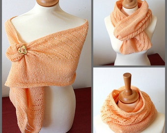 Knitting Pattern (PDF file) Diagonal Lace Cowl-Scarf-Shawl
